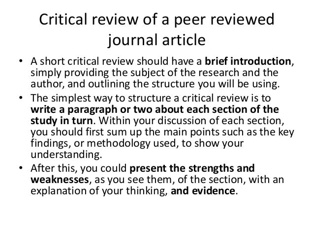 an example of a critical review